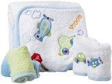 SpaSilk 100% Cotton Hooded Terry Bath Towel + 4 Washcloths Set - Blue Green Plane