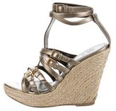Burberry Metallic Mutlistrap Espadrille Wedges