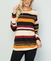 Celeste Women's Tunics BURG - Burgundy & Yellow Stripe Tunic - Women & Plus