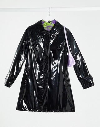 Helene Berman vinyl swing trench jacket in black