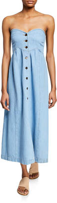 Nanushka Kaia Denim Button-Front Maxi Dress w/ Removable Straps