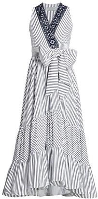 Silvia Tcherassi Aine Cold-Shoulder Pinstripe Midi Dress