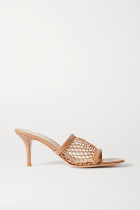 Gianvito Rossi 70 Leather-trimmed Fishnet Mules - Beige
