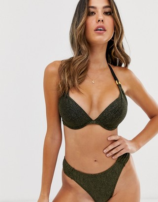 Dorina super push up bikini top in metallic-Black