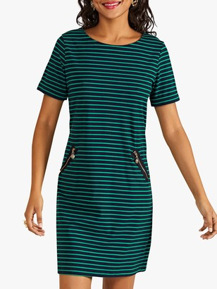 Yumi Nautical Stripe Tunic Dress, Green