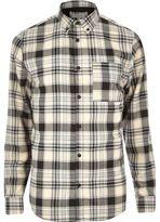 River Island MensWhite casual check flannel shirt