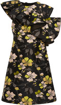 Giambattista Valli Ruffled one-shoulder floral-jacquard mini dress
