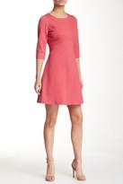 Adrianna Papell 3/4 Length Sleeve Ponte A-Line Dress (Petite)