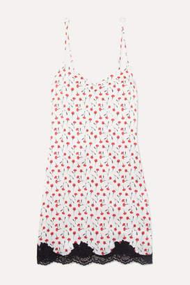 Fleur Du Mal James Lace-trimmed Floral-print Stretch-silk Chemise - White
