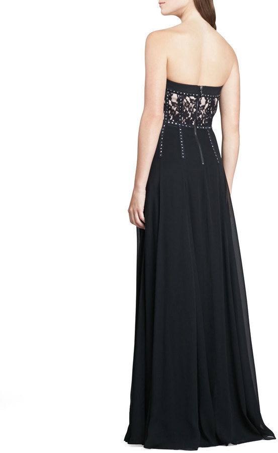 Rebecca Taylor Strapless Lace Studded Gown