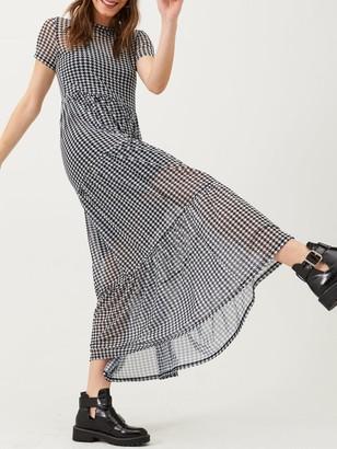 Very Checked Mesh Midi Dress - Black/White