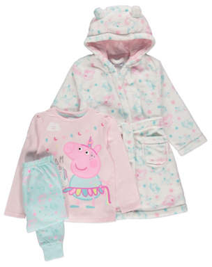 George Peppa Pig Pastel Pyjamas and Dressing Gown Outfit