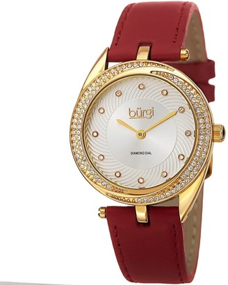 Burgi Ladies Diamond Crystal Swirl Red Leather Strap Watch