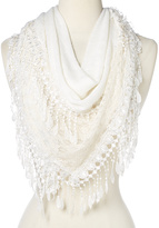 White Lace-Accent Fringe Scarf