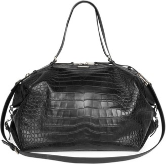 Saint Laurent Croc-Embossed Leather Duffel Bag