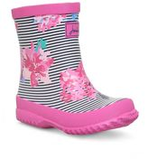 Joules Girls Pink Stripe Floral Wellingtons