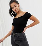 Asos DESIGN Petite off shoulder bodysuit with short sleeve in black