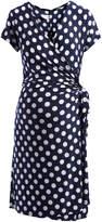 Glam Navy & White Polka Dot Maternity Wrap Dress
