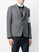 Thom Browne High Armhole Single Breasted Sport Coat With Embroidery Patch Armband In Grey Canvas Suiting