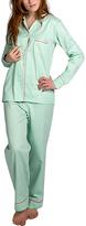 Malabar Bay Green & White Organic Cotton Sateen Pajama Set