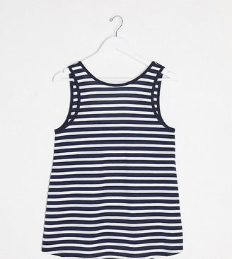 ASOS DESIGN Maternity swing vest in navy and white stripe
