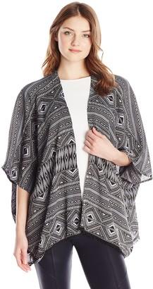 RD Style Women's Crinkle Printed Kimono Cardigan