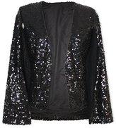 Ehomelife Crazy Women's Solid Color Sequins Cloak Cape Trench Coat Duster Coat Short Jacket Top (XL)