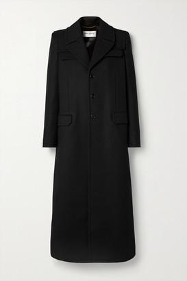 Saint Laurent Wool-twill Coat - Black