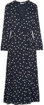 Ganni Polka-dot Chiffon Wrap Dress - Navy
