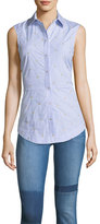 Derek Lam 10 Crosby Embroidered Striped Sleeveless Lace-Up Back Poplin Shirt