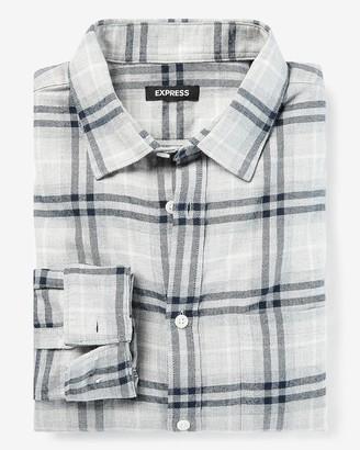 Express Slim Plaid Dressy Flannel Shirt