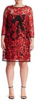 ABS, Plus Size Embroidered Lace Shift Dress
