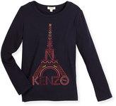 Kenzo Long-Sleeve Eiffel Tower Jersey Tee, Blue, Size 4-6