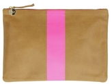 Clare Vivier Margo Flat Clutch With Neon Pink Stripe
