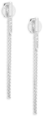 Kc Designs White Gold Diamond Chain Hoops/1''