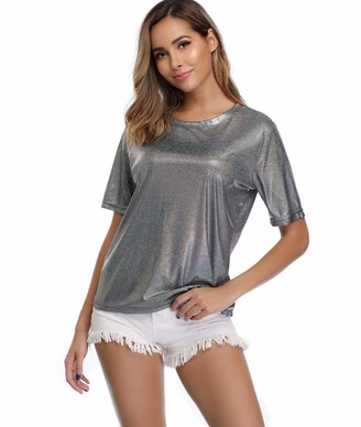 Dilgul Summer Tops and T Shirts for Women Shimmer Sparkle Holographic Glitter Metallic Short Sleeves Blouse (10~12/Small
