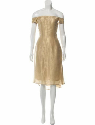 Barbara Tfank Sleeveless A-Line Metallic Dress Gold