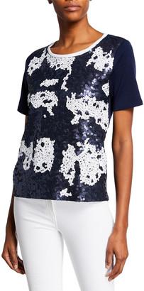 Joan Vass Colorblock Sequin-Front Short-Sleeve Zip-Back Top