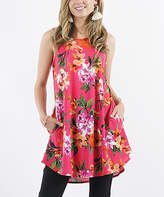 42pops 42POPS Women's Tunics 20_FuchsiaOrangeFlower - Fuchsia & Orange Floral Sleeveless Pocket Swing Top - Women