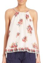 Joie Gris Hacienda Silk Floral Print Tank Top