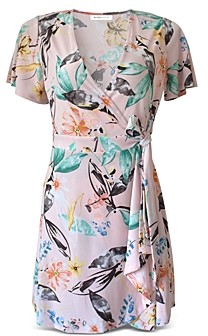 BCBGeneration Floral Flutter Sleeve Wrap Dress