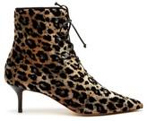 Francesco Russo Leopard-print Lace-up Velvet Ankle Boots - Womens - Leopard