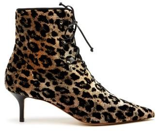 Francesco Russo Leopard Print Lace Up Velvet Ankle Boots - Womens - Leopard