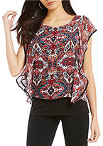 I.N. Studio Multi Diamond Medallion Print Ruffle Popover Top