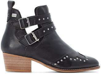 Coolway Nikka Studded Leather Ankle Boots with Buckles and Cut-Out