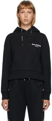 Balmain Black Flocked Logo Hoodie