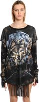 Balmain Lace-Up Wolf Print Cotton Jersey T-Shirt