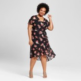 Ava & Viv Women's Plus Size Feminine Wrap Maxi Dress Black Floral