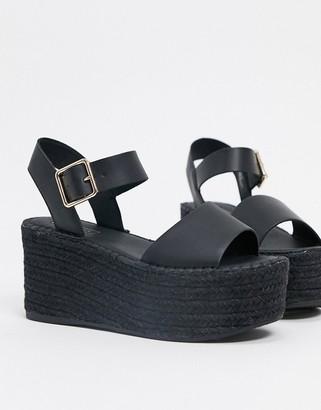 Topshop espadrille wedge sandal in black
