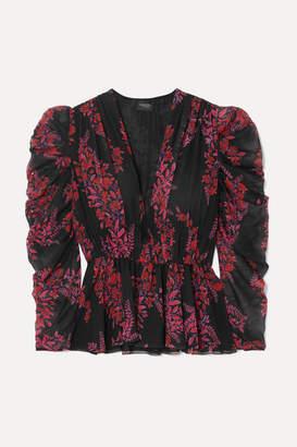 Giambattista Valli Printed Silk-georgette Peplum Blouse - Black